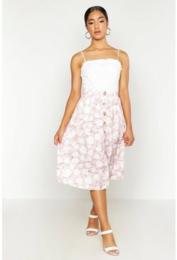 Womens Pink Button Through Daisy Woven Midi Skirt