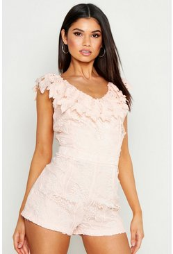 Womens Blush Lace Playsuit