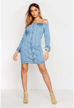 Womens Mid blue Off The Shoulder Denim Dress