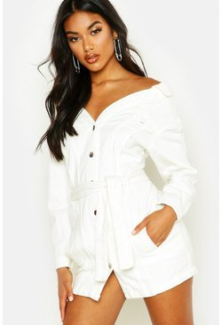 Womens Off white Off The Shoulder Denim Shirt Dress