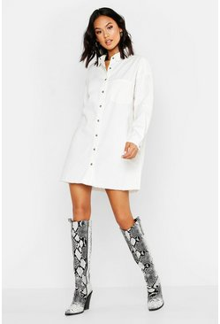 Womens Ecru Oversized Shirt Dress