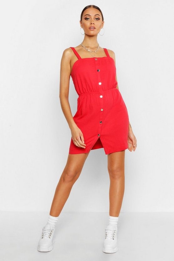 Red Button Front Strappy Denim Dress