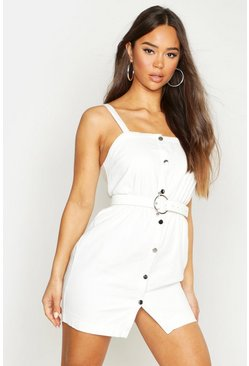 Womens White Button Front Strappy Denim Dress