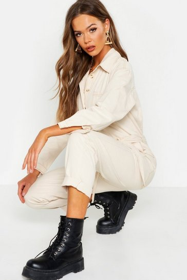 Womens Oversized Ecru Boilersuit