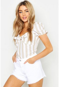 Womens White High Waist Denim Short