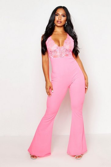 Womens Hot pink Lace Plunge Jumpsuit