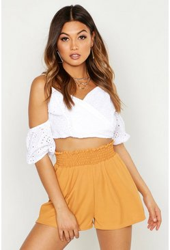 Womens Mustard Shirred Waist Rib Flippy Short