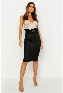 Womens Black Paper Bag Waist Embossed Midi Skirt