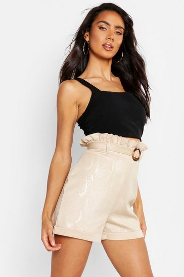 Womens Stone Embossed Snake Paper Bag Waist Short