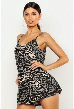 Womens Black Giraffe Print Swing Playsuit