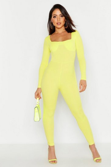 Womens Lime Sweetheart Neckline Cup Detail Jumpsuit