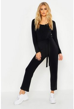 Womens Black Light Weight Loop Back Belted Lounge Jumpsuit