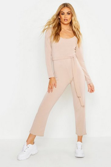 Womens Stone Light Weight Loop Back Belted Jumpsuit