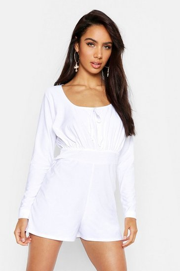 Womens White Peasant Sleeve Ruched Waist Playsuit