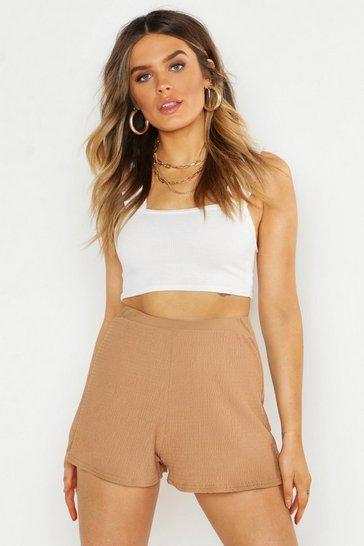 Womens Stone Ruched Waist Flippy Short