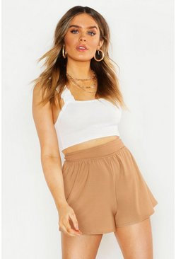 Womens Stone High Waisted Ruched Short