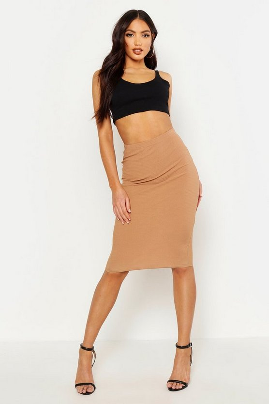 Womens Stone Shirred Midi Skirt