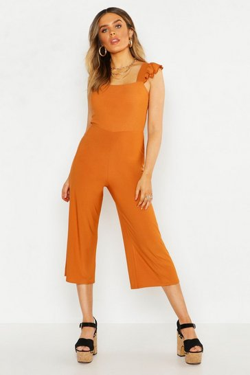 Womens Mustard Frill Detail Shirred Culotte Jumpsuit