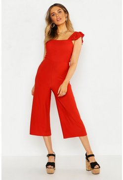Womens Rust Frill Detail Shirred Culotte Jumpsuit