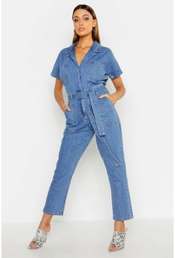 Womens Mid blue Tie Waist Boilersuit