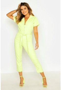 Soft lime Tie Waist Boilersuit