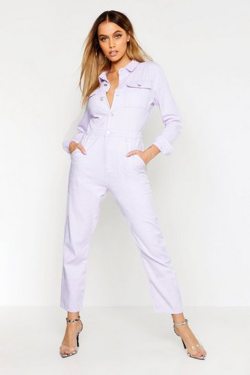 Womens Lilac Utility Pocket Denim Boilersuit