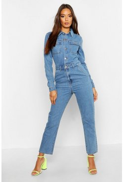 Womens Mid blue Utility Pocket Denim Boilersuit