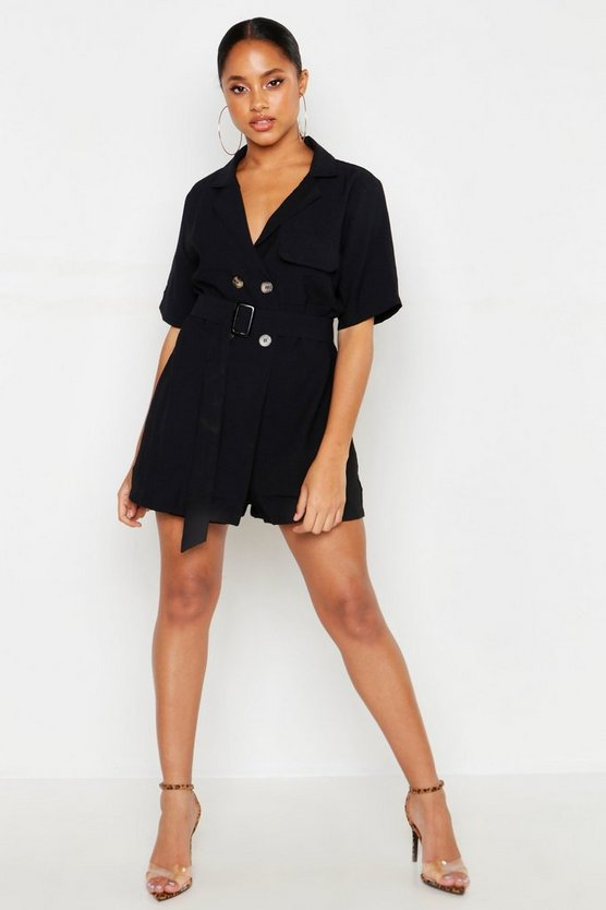 Womens Black Linen Contrast Stitch Collared Playsuit