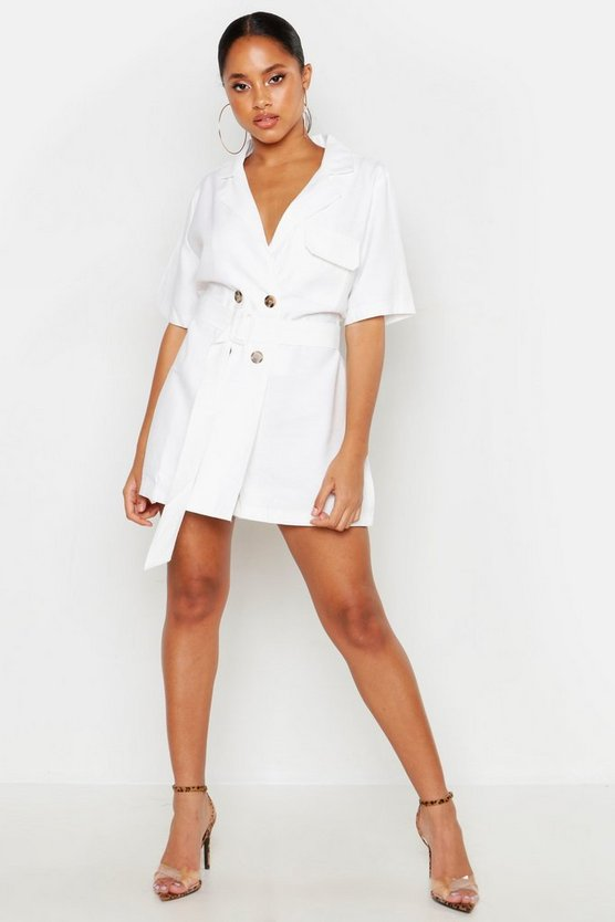 Womens White Linen Contrast Stitch Collared Playsuit