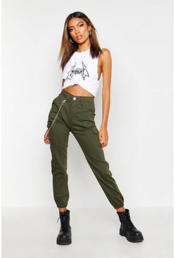 Womens Khaki Chain Detail Fitted Cargo Pants