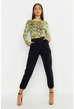 Womens Black Jersey Cargo Trousers