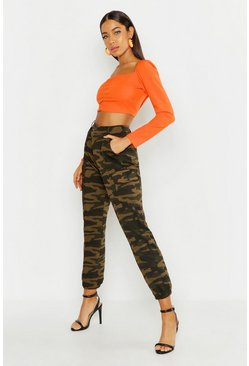 Womens Green Camo Jersey Cargo Trouser