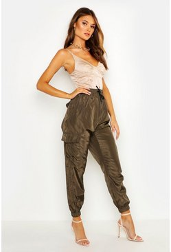 Womens Khaki Pocket Detail Cargo Trouser