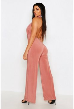 Rose High Neck Backless Jumpsuit