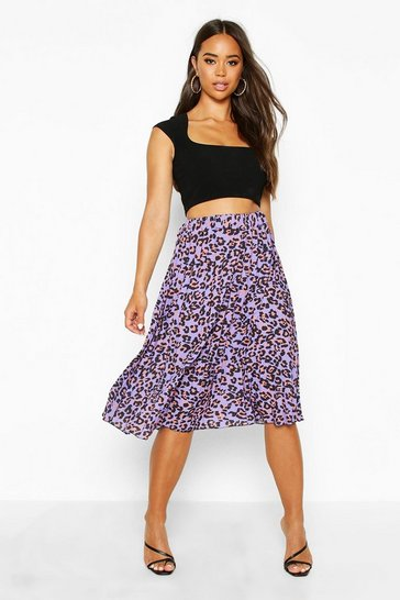 Womens Lilac Leopard Print Pleated Midi Skirt