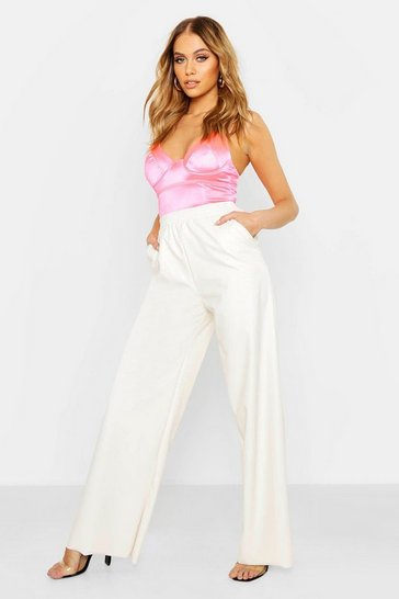 Womens Ivory Leather Look Wide Leg Trousers