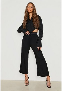 High Waist Black Basic Wide Leg Jersey Culottes