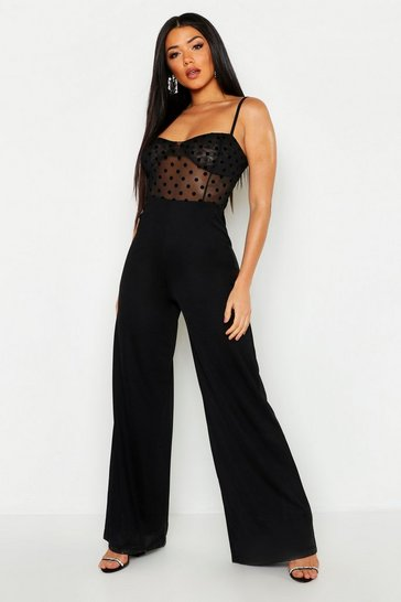Womens Black Cupped Polka Dot Mesh Jumpsuit