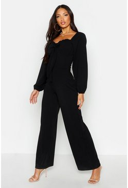 Womens Black Peasant Puff Sleeve Jumpsuit