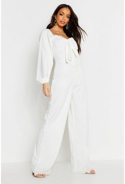 White Peasant Puff Sleeve Jumpsuit