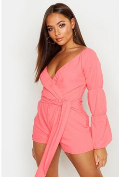 Coral Off The Shoulder Puff Sleeve Playsuit