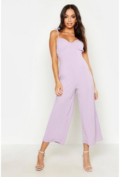 Lilac Ruched Bust Detail Cullotte Jumpsuit