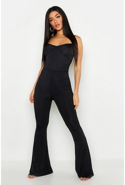 Womens Black Cupped Ribbed Flare Jumpsuit