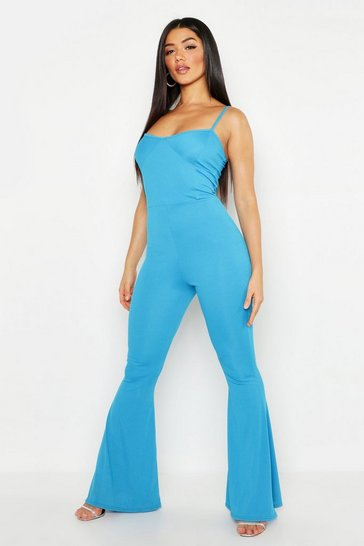Horizon blue Cupped Ribbed Flare Jumpsuit