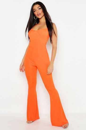 Womens Orange Cupped Ribbed Flare Jumpsuit
