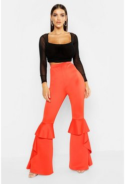 Womens Tangerine Ruffle Hem Flared Trousers