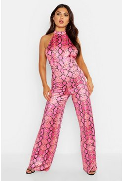 Womens Hot pink High Neck Backless Wide Leg Snake Print Jumpsuit