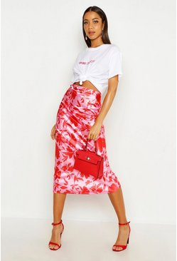 Womens Pink Vibrant Floral Satin Midaxi Skirt