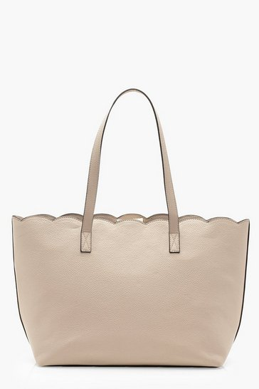 Womens Nude Scallop Edge Tote Bag