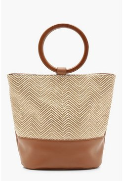 Womens Natural Raffia Bucket Bag With Wooden Handle